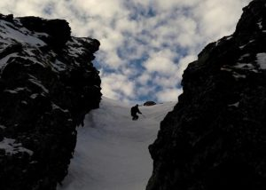 Skiing the Bear Couloir