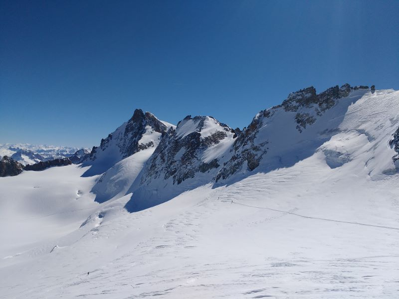 A photo from the top of La Grave towards La Meije