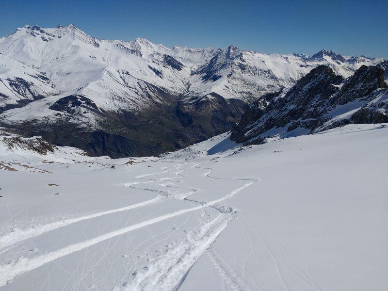 Fresh ski tracks in La Grave