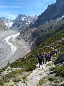 Hiking by a glacier