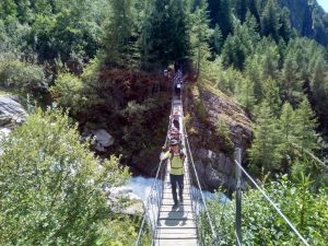 Hikers on Bridge